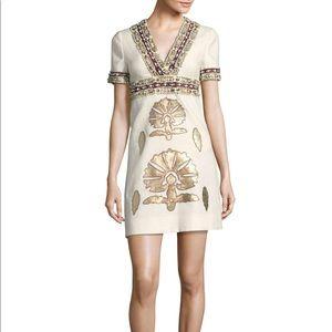 Tory Burch Anya Embellished Linen Mini Dress